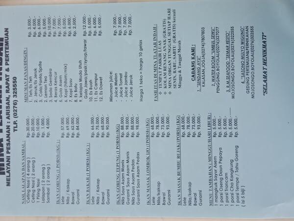 harga menu makanan di tlatar boyolali