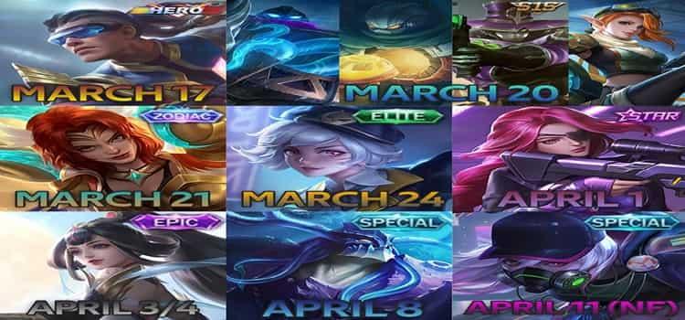 skin dan hero baaru mobile legends yang rilis maret sampai april 2020
